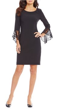 Alex Marie Steph Sheath Dress with Lace Flounce Sleeves