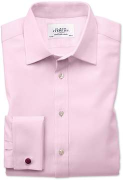 Charles Tyrwhitt Extra Slim Fit Egyptian Cotton Cavalry Twill Light Pink Dress Shirt French Cuff Size 14.5/33