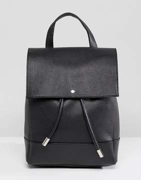 Asos DESIGN Leather Drawstring Backpack With Tabs