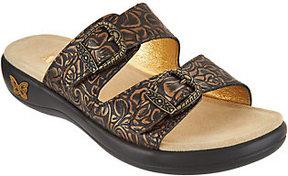 Alegria As Is Leather Buckle Detail Slide Sandals- Jade