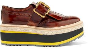 Prada Fringed Burnished-leather Platform Brogues - Dark brown
