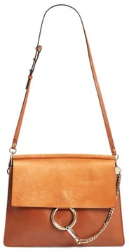 Chloé 'Faye' Leather & Suede Shoulder Bag - Brown