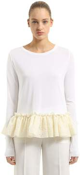 Antonio Berardi Knit Sweater With Ruffled Lace Hem