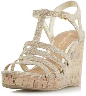 Head Over Heels *Head Over Heels by Dune Gold 'Keeli' Wedge Sandals