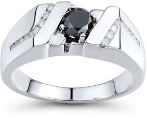 Black Diamond FINE JEWELRY Mens 1 CT. T.W. White and Color-Enhanced Sterling Silver Comfort Fit Ring