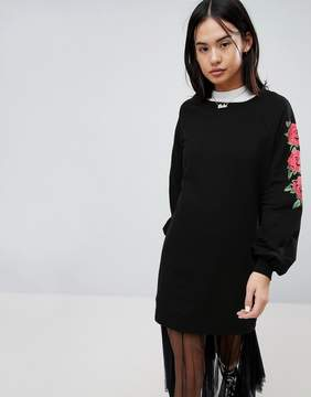 Noisy May Sweat Dress With Rose Sleeve Print