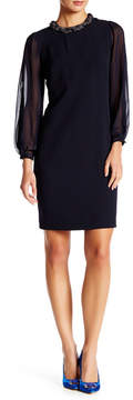 Donna Ricco Long Open Shoulder Sleeve Shift Dress