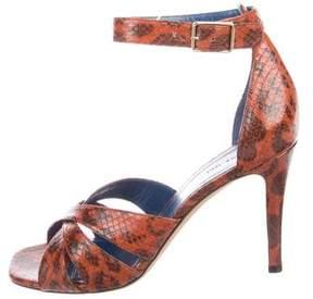 Celine Snakeskin Ankle-Strap Sandals