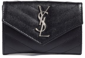 Saint Laurent Women's 'Small Monogram' Leather French Wallet - Black - BLACK - STYLE