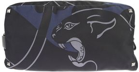 Valentino Panther Printed Black And Blue Nylon Overnight Case