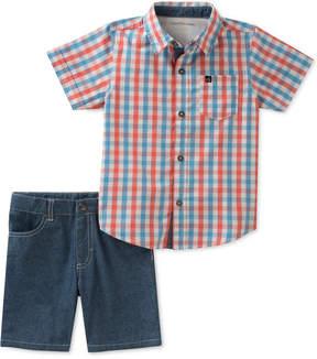 Calvin Klein Little Boys 2-Pc. Cotton Plaid Shirt & Shorts Set