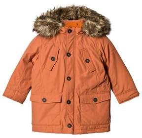 Pepe Jeans Orange Down and Cotton Fill Parka with Detachable Hood
