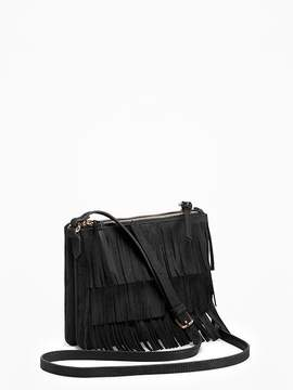Sueded Dual-Zip Fringed Crossbody Bag for Women