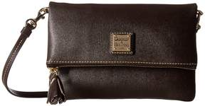 Dooney & Bourke Saffiano Fold-Over Zip Crossbody Cross Body Handbags - BLACK/BLACK TRIM - STYLE
