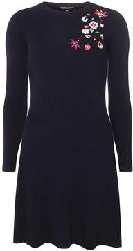 Dorothy Perkins Navy Floral Embroidered Fit and Flare Knitted Dress