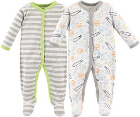 Luvable Friends White Sports Sleep & Play Two-Piece Footie Set - Newborn