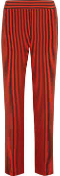 Etro Striped Silk-satin Wide-leg Pants - Orange