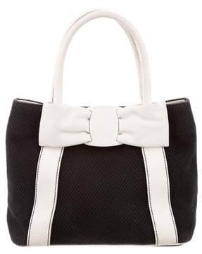 Salvatore Ferragamo Leather-Trimmed Vara Bow Handle Bag
