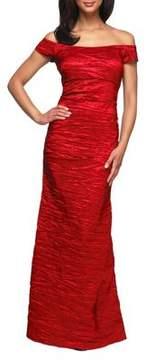 Alex Evenings Long Off the Shoulder Stretch Taffeta Dress