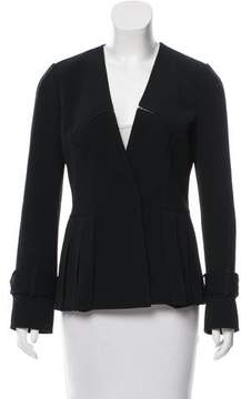 Andrew Gn Pleated Open Knit-Trimmed Jacket