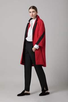 Amanda Wakeley   Red Cloque Coat   L   Red
