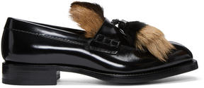 Prada Black Fur Loafers