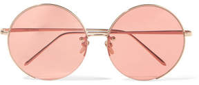 Linda Farrow Round-frame Rose Gold-plated Sunglasses