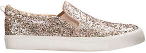 Joe Fresh Kid Girls' Glitter Slip On Sneakers, Light Gold (Size 6)