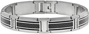 Lynx Cubic Zirconia Stainless Steel Carbon Fiber Bracelet - Men