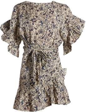 Etoile Isabel Marant Delicia ruffle-trimmed linen wrap dress