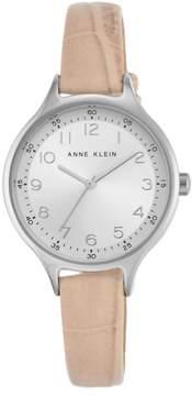 Anne Klein Silvertone Round Dial Blush Strap Watch