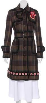 Trussardi Embellished Plaid Coat