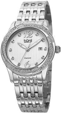 Burgi Silver Dial Silver-tone Case Crystal Bezel Ladies Watch
