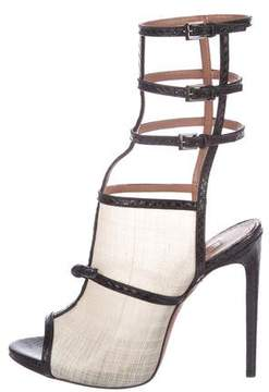 Alaia Snakeskin Cage Sandals