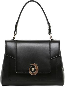 Trussardi Lovy Polished Leather Top Handle Bag