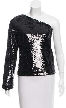 RtA Denim Sequined One-Shoulder Top w/ Tags