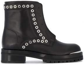 Alexander McQueen Zip Front Boots With Eyelet Studs