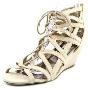 Material Girl Hera Women Open Toe Canvas Wedge Sandal.