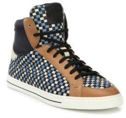 Fendi Multicolor Woven Leather High-Top Sneakers