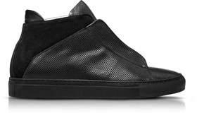 Ylati Men's Black Leather Hi Top Sneakers.