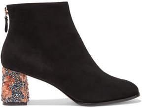 Sophia Webster Stella Embellished Suede Ankle Boots - Black