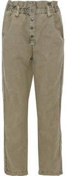 Current/Elliott Cropped Linen And Cotton-Blend Straight-Leg Pants