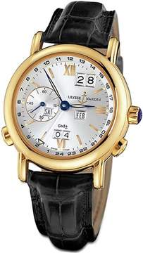 Ulysse Nardin GMT Perpetual Silver Dial 18kt Yellow Gold Black Leather Men's Watch 321-22-31