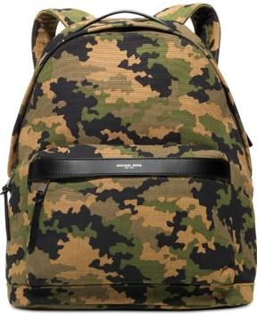 Michael Kors Green Black Men's Canvas Grant Camo Print Backpack