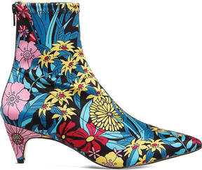 Office Atomic floral-print stretch-satin boots