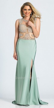 Dave and Johnny Cut Out Back Crystal Embellished Column Prom Dress