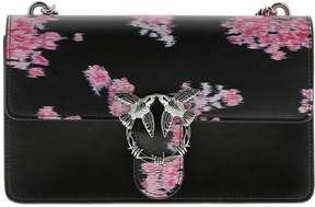 Pinko Crossbody Bags Love Bag Flower In Leather With All Over Print And Chain Shoulder Strap