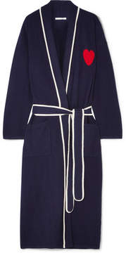 Chinti and Parker Heart Intarsia Cashmere Robe - Navy