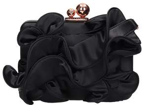 Sophia Webster Black Calf Leather Ruffle Clutch Bag