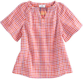 Vineyard Vines Girls Gingham Flutter Sleeve Top